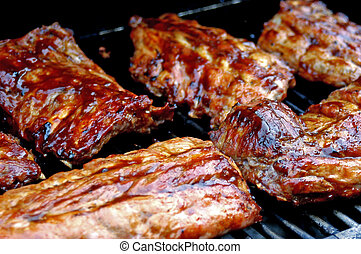 Grilled ribs - a bunch of grilled barbaque ribs