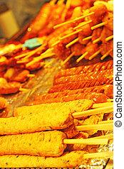 Grilled rice cake at the market - Korean food