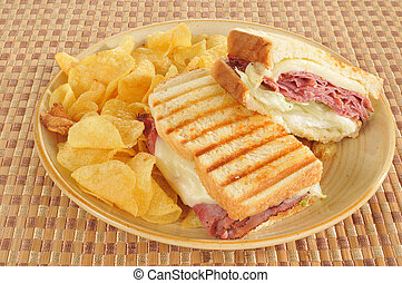 Grilled roast beef and swiss cheese sandwich