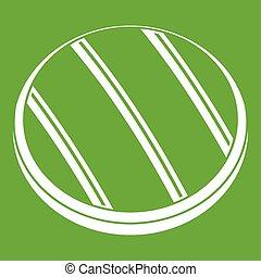 Grilled round beef steak icon green