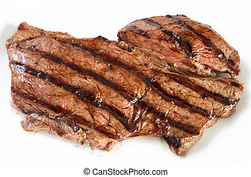 Grilled rump steak - A grilled rump steak on a white plate