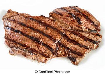 Grilled rump steak - A grilled rump steak on a white plate