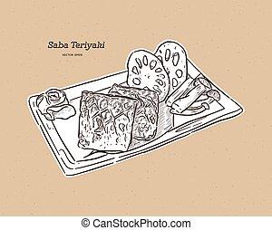 Grilled Saba fish steak with teriyaki sauce - Japanese food style. Hand draw sketch vector.