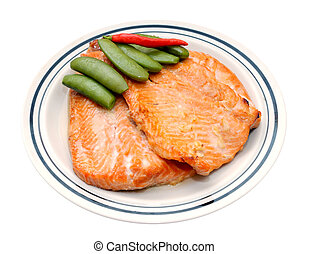 grilled salmon and green been