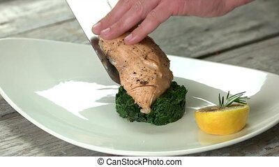 Grilled salmon and spinach tartare. Tasty and healthy dish.