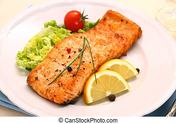 Grilled salmon filet and vegetables