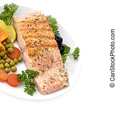 Salmon Fillet With Vegetables - Grilled Salmon Fillet With...