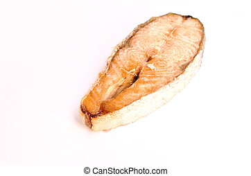 grilled salmon fish with salt and pepper on white background