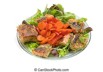 Grilled salmon on salad