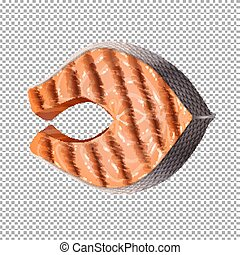 Grilled salmon on transparent background