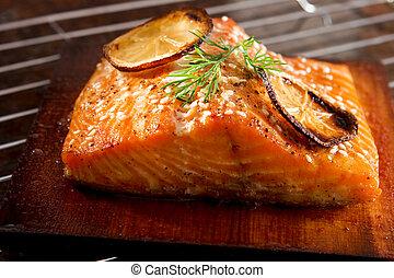 Grilled salmon - Salmon grilled on cedar plank
