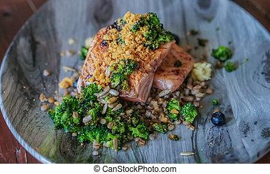 Grilled salmon steak nordic style rustic seafood dish