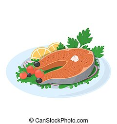 Grilled salmon steak on the plate with lemon and tomato.