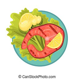 Grilled Salmon Steak with Lettuce and Lemon Rested on Plate Vector Illustration