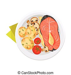 Grilled Salmon Steak with Mushrooms and Tomatoes Served on Flat Plate Vector Illustration