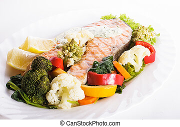 Grilled salmon steak with vegatables - A grilled salmon...