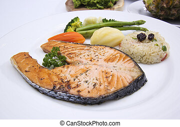 Grilled Salmon steak with Vegetables and Fried Rice