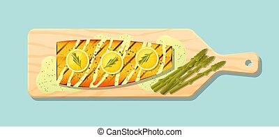 Grilled salmon steak with vegetables and spices served on wooden cutting board 1