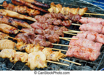 grilled satay, street food in thailand