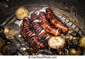 Grilled sausage and potaoes