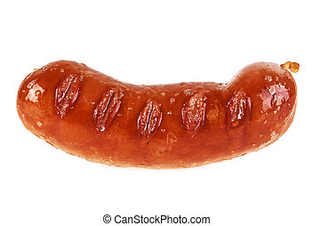 Grilled sausage isolated on a white background
