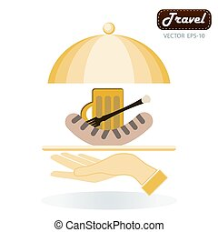 Grilled sausage on a fork, mug of beer with foam head in his hand on a background of beer barrels on the serve plate
