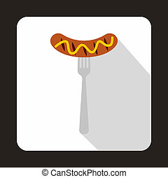 Grilled sausage on a fork mustard icon, flat style