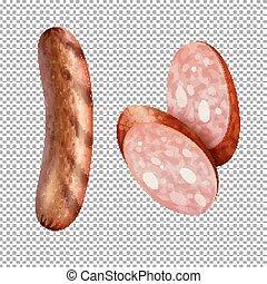Grilled sausage on transparent background