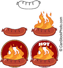 Grilled Sausages And Flames With Banners Collection