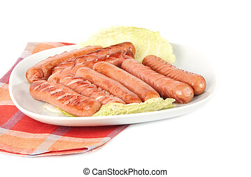 grilled sausages on a plate