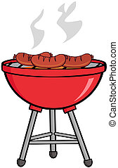 Grilled Sausages On Barbecue Cartoon Character