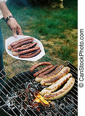 grilled sausages on Barbecue