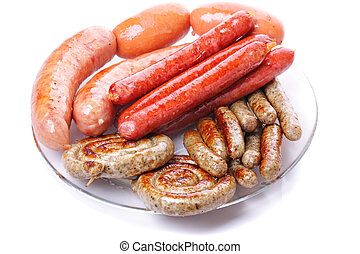 Grilled sausages on plate