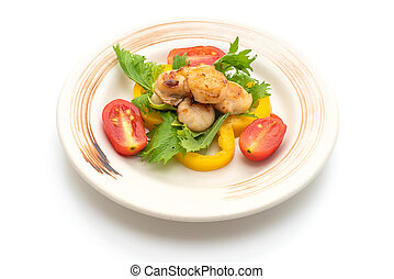 grilled scallops shell with vegetable