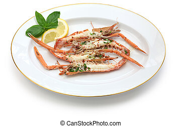 grilled scampi on white dish