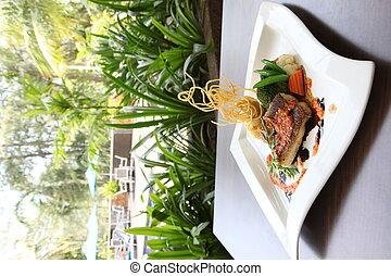 Grilled seabass fillet dish - Grilled seabass fillet seafood...