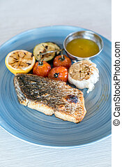 Grilled seabass fish  with grilled vegetable