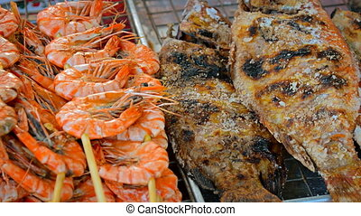 Grilled Seafood for Sale at a Public Market