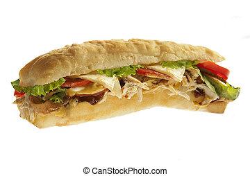 Grilled shredded chicken sandwich sub hoagie
