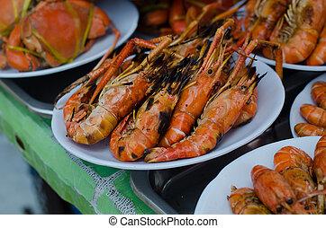 grilled shrimp at floating market, amphawa, Thailand