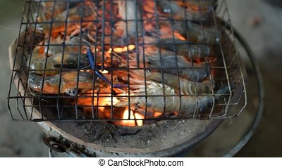 Grilled shrimp (Giant freshwater prawn