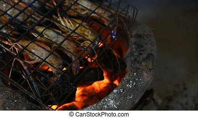 Grilled shrimp (Giant freshwater prawn)