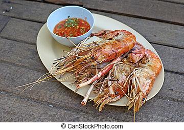 grilled shrimp, grilled big river prawn