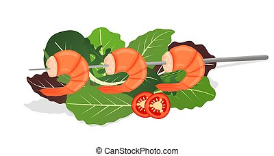 Grilled shrimp skewers on mix of lettuce leaves. Tasty fresh cooked fried shrimps dish with chilli pepper. Sea food nutrition concept. Vector illustration.
