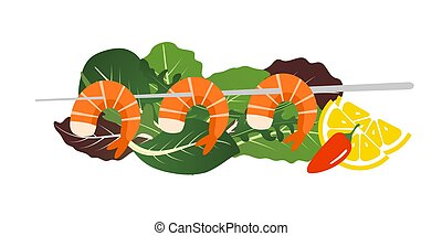Grilled shrimp skewers on mix of lettuce leaves. Tasty fresh cooked fried shrimps dish with lemon slice, dill and pepper. Sea food nutrition concept. Vector flat cartoon isolated illustration.