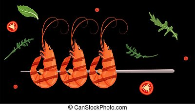 Grilled shrimp skewers. Tasty fresh cooked fried shrimps dish with chilli pepper. Sea food nutrition concept. Vector illustration.