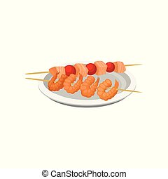 Grilled shrimps on a skewer and salmon kebab vector Illustration on a white background