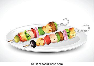 Grilled Skewer - illustration of roasted vegetable and...
