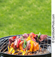 Grilled skewer on fire - Meat and vegetable skewer on...