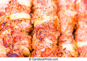 Grilled skewers of meat